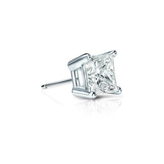Auriya 14k Gold 1/3ct TDW Princess-Cut Diamond 4-Prong Basket Push-Back Single Stud Earring (I-J, SI2-SI3)