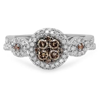 14k Gold 1ct TDW Champagne and White Diamond Swirl Halo Cluster Engagement Ring (I-J, I2-I3)