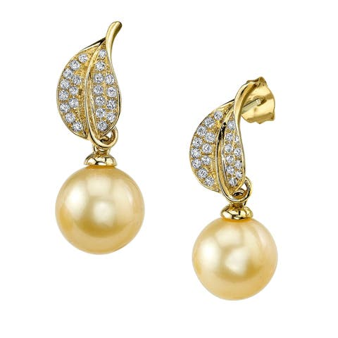Radiance Pearl 18k Gold Golden South Sea Pearl and Diamond Earrings (9-10mm/ 10-11mm)