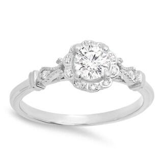 14k Gold 1/2ct TDW Round Diamond Vintage-style Halo Engagement Ring (I-J, I1-I2)
