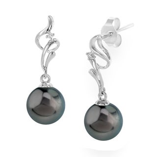 Radiance Pearl 18k Gold Tahitian South Sea Pearl and Diamond Earrings (8-9mm/ 9-10mm/ 10-11mm)