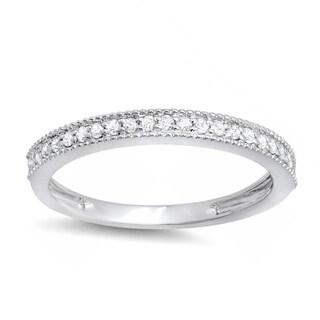 Elora 18k Gold 1/4ct TDW Round Diamond Milgrain Anniversary Wedding Stackable Band (I-J, I2-I3)