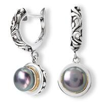 Avanti Sterling Silver and 18K Yellow Gold Black Pearl Dangle Earrings