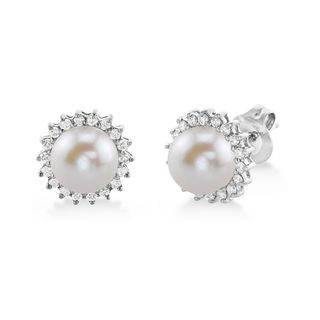 Radiance Pearl 14k Gold White Freshwater Pearl and Diamond Earrings (7-8mm)