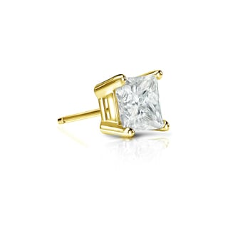Auriya 14k Gold 1/3ct TDW Princess-Cut Diamond 4-Prong Basket Push-Back Single Stud Earring (J-K, I2-I3)