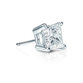 Auriya 14k Gold 1/2ct TDW Princess-Cut Diamond 4-Prong Basket Push-Back Single Stud Earring (H-I, SI1-SI2)