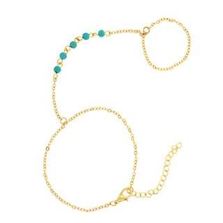 18K Gold Plated Genuine Turquoise Finger Bracelet
