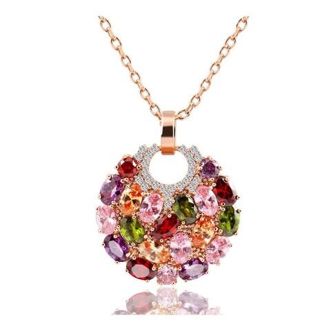 18K Rose Goldplated Swarovski Element Crystals Gemstone Pendant