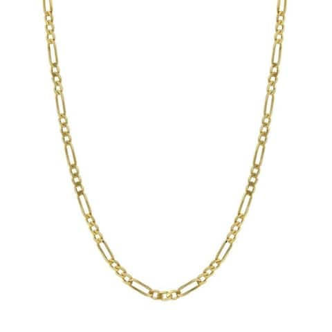14K Solid Gold 2mm Figaro Chain Necklace