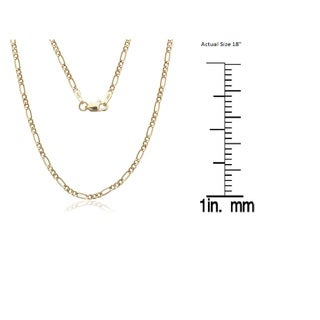 14K Solid Gold 1.5mm Figaro Chain Necklace