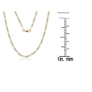 14K Solid Gold 1.5mm Figaro Chain Necklace (4 options available)