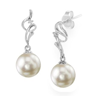 Radiance Pearl 18k Gold White Akoya Pearl and Diamond Earrings (8.5-9.0mm/ 9.0-9.5mm/ 9.5-10.0mm)