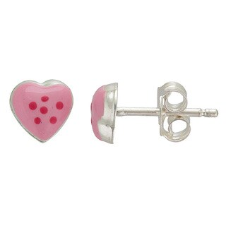 Sterling Silver Adorable Pink Heart Stud Earrings