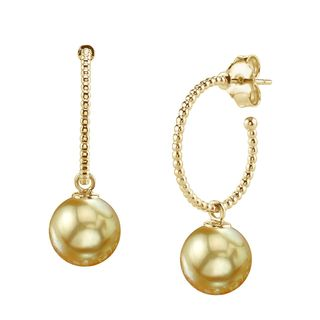 Radiance Pearl 14k Gold Golden South Sea Pearl Earrings (9-10mm/ 10-11mm/ 11-12mm)