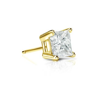 Auriya 14k Gold 1/2ct TDW Princess-Cut Diamond 4-Prong Basket Push-Back Single Stud Earring (J-K, I2-I3)
