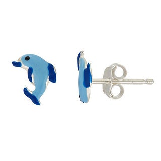 Sterling Silver Adorable Blue Dolphin Stud Earrings