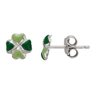 Sterling Silver Adorable Irish Clover Stud Earrings