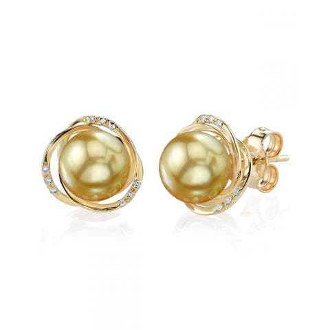 Radiance Pearl 14k Gold Golden South Sea Pearl and Diamond Earrings (8-9mm)