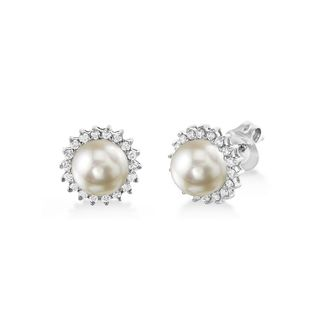 Radiance Pearl 14k Gold White Akoya Pearl and Diamond Earrings (7.0-7.5mm)