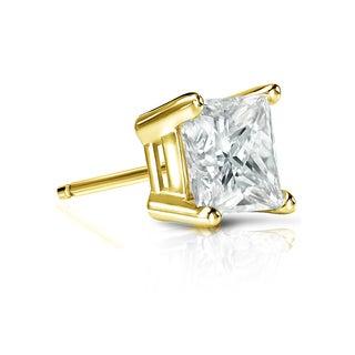 Auriya 14k Gold 1ct TDW Princess-Cut Diamond 4-Prong Basket Push-Back Single Stud Earring (I-J, I1-I2)