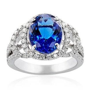 14k White Gold Tanzanite Diamond High-polished Ring