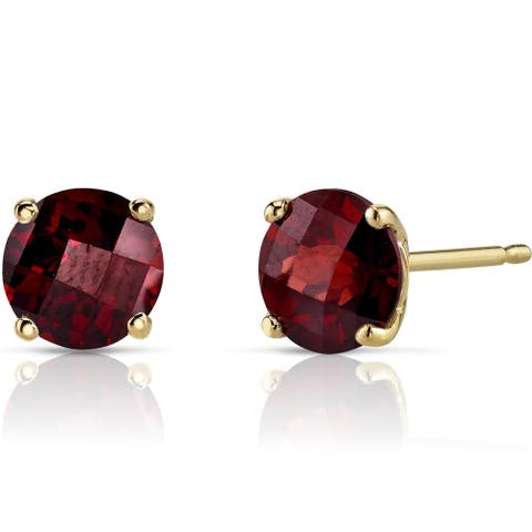 Oravo 14k Yellow Gold 2 1/4ct TGW Garnet Round-cut Stud Earrings