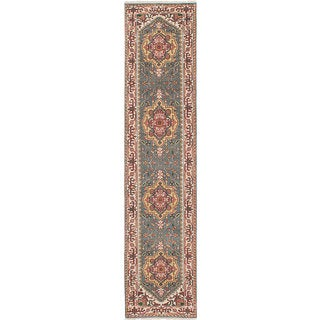 ecarpetgallery Hand-Knotted Serapi Heritage Green Wool Rug (2'7 x 11'11)