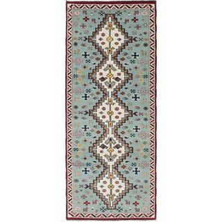 ecarpetgallery Hand-Knotted Royal Kazak Blue Wool Rug (4'0 x 9'8)