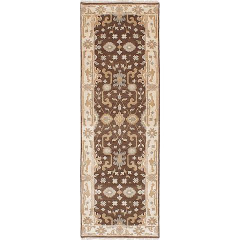 "ECARPETGALLERY Hand-knotted Royal Ushak Khaki Wool Rug - 2'8"" x 7'11"" Runner"