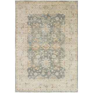 ecarpetgallery Hand-Knotted Royal Ushak Ivory, Yellow Wool Rug (5'11 x 8'9)
