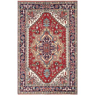 ecarpetgallery Hand-Knotted Serapi Heritage Red Wool Rug (5'0 x 7'10)