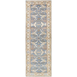 ecarpetgallery Hand-Knotted Royal Ushak Gray, Yellow Wool Rug (2'8 x 8'0)