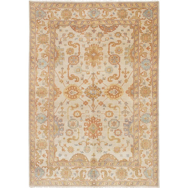 ecarpetgallery Hand-Knotted Royal Ushak Green, Ivory Wool Rug (5'10 x 8'4)