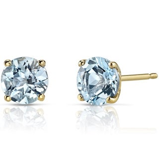 Oravo 14k Yellow Gold 1 1/2ct TGW Aquamarine Round-cut Stud Earrings