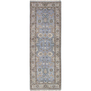 ecarpetgallery Hand-Knotted Royal Ushak Blue, Brown Wool Rug (2'9 x 8'0)