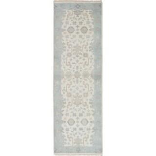 ecarpetgallery Hand-Knotted Royal Ushak Blue, Ivory Wool Rug (2'6 x 8'0)