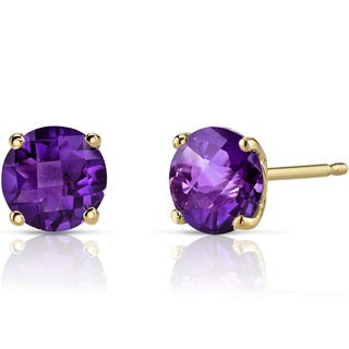 Oravo 14k Yellow Gold 1 3/4ct TGW Amethyst Round-cut Stud Earrings