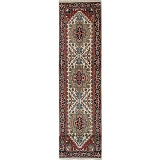 ecarpetgallery Hand-Knotted Serapi Heritage Ivory, Red Wool Rug (2'6 x 11'10)