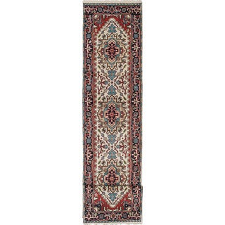 ecarpetgallery Hand-Knotted Serapi Heritage Ivory, Red Wool Rug (2'6 x 12'2)