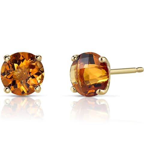 Oravo 14k Yellow Gold 1 3/4ct TGW Citrine Round-cut Stud Earrings