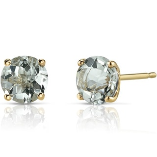 Oravo 14k Yellow Gold 1 1/2ct TGW Amethyst Round-cut Stud Earrings