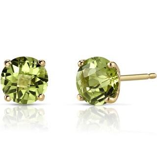 Oravo 14k Yellow Gold 1 3/4ct TGW Peridot Round-cut Stud Earrings