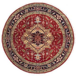 ecarpetgallery Hand-Knotted Serapi Heritage Black, Orange Wool Rug (5'0 x 5'0) - 5'0 x 5'0