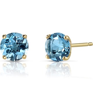 Oravo 14k Yellow Gold 2ct TGW Swiss Blue Topaz Round-cut Stud Earrings