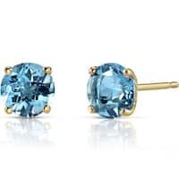 Oravo 14k Yellow Gold 2ct TGW Swiss Blue Topaz Round-cut Stud Earrings