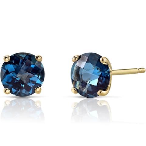 Oravo 14k Yellow Gold 2ct TGW London Blue Topaz Round-cut Stud Earrings