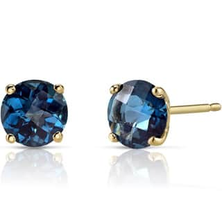 Oravo 14k Yellow Gold 2ct TGW London Blue Topaz Round-cut Stud Earrings|https://ak1.ostkcdn.com/images/products/12331188/P19162766.jpg?impolicy=medium
