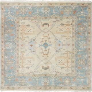 ecarpetgallery Hand-Knotted Royal Ushak Blue, Ivory Wool Rug (6'2 x 6'0)