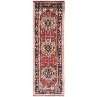 ecarpetgallery Hand-Knotted Serapi Heritage Brown Wool Rug (2'7 x 7'9)