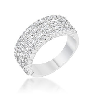 Kate Bissett Gwen Rhodium 1-carat Cubic Zirconia Wide Ring
